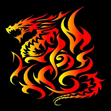 Beautiful Abstract Reborn Phoenix Dragon Design, Stylised Fiery Good Luck Dragon Design, Modern Red Burning Tribal Fire Dragon Design, New Dragon Rebirth Design, Dragon Reborn From The Flames Design by LuckDragonGifts