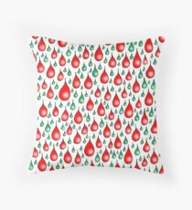 Christmas red green drops Throw Pillow