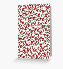 Christmas red green drops Greeting Card