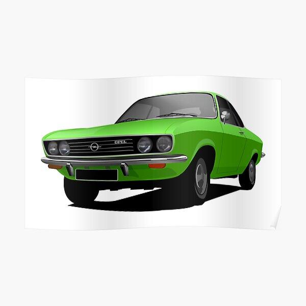 Green Opel Manta A - illustration Poster