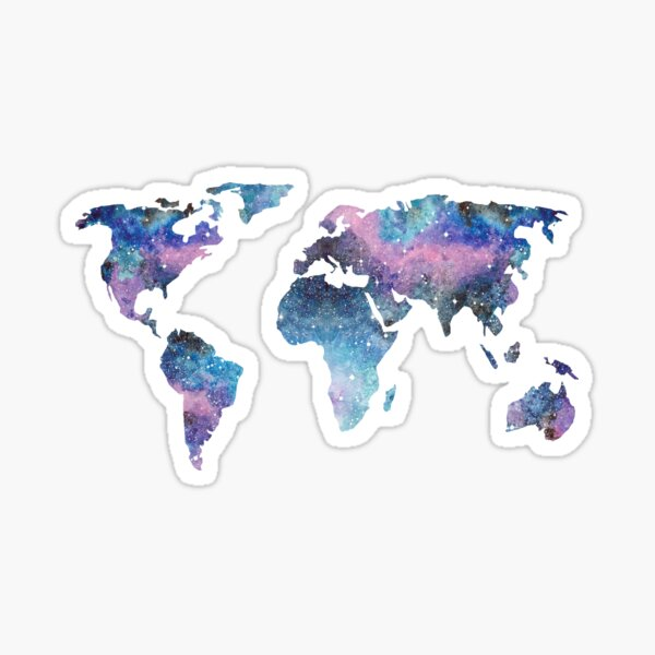 Watercolor Galaxy World Map Sticker