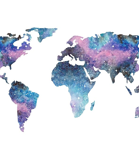 Watercolor Galaxy World Map by ChipiArtPrints