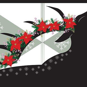 Christmas Floral Deer by laurenbull16