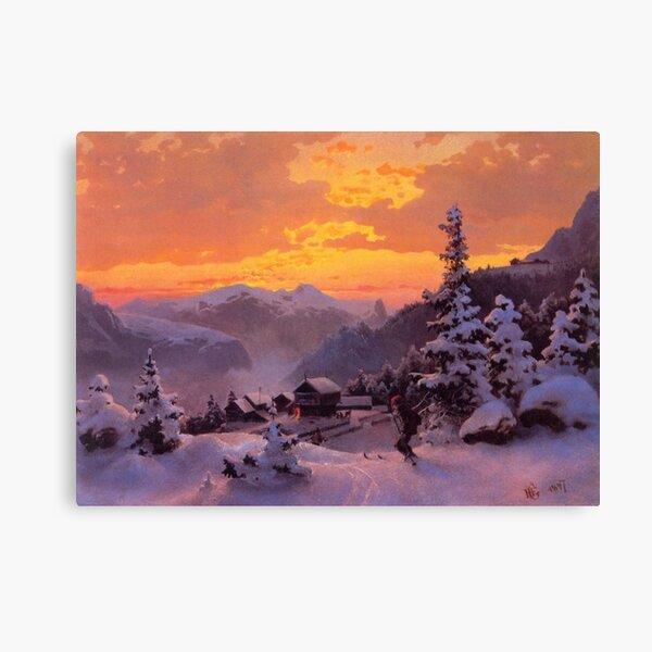 Vintage Hans Gude - Vinteretterniddag 1847 Fine Art Canvas Print