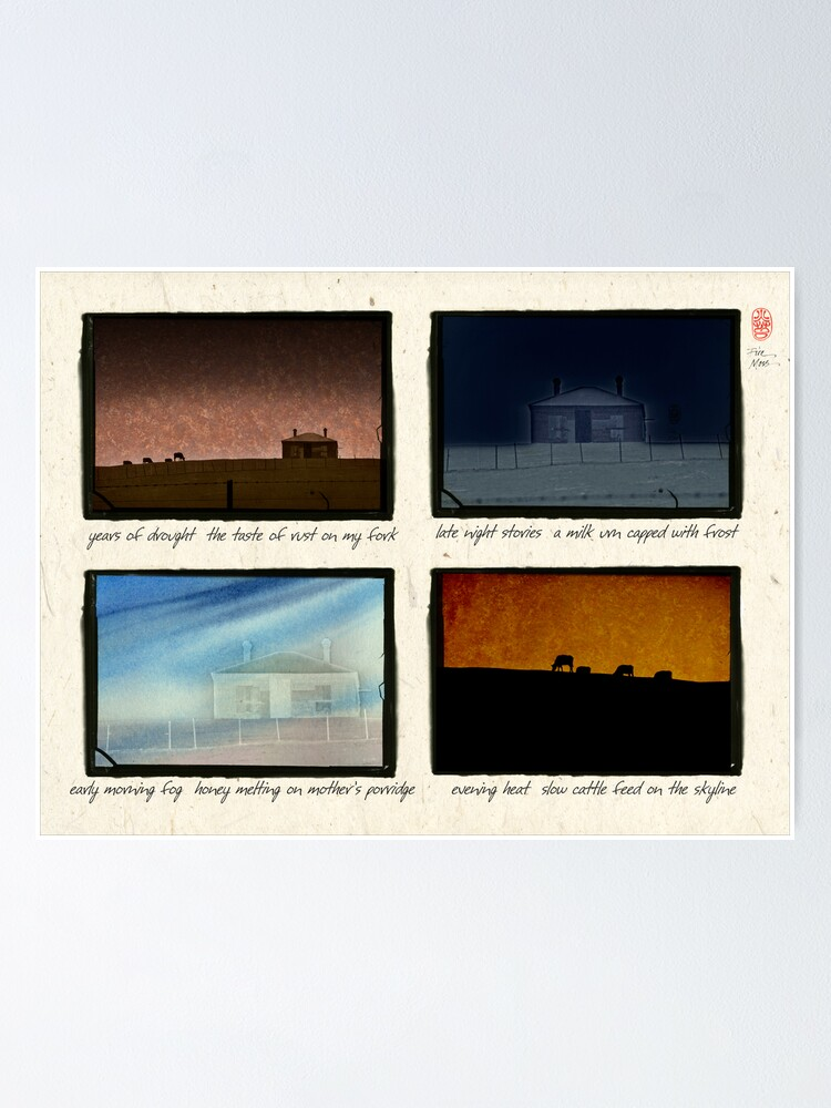 Alternate view of Farm house in four views with haiku Poster