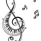 Musik, Notenschlüssel mit Klaviertasten. von Christine Krahl