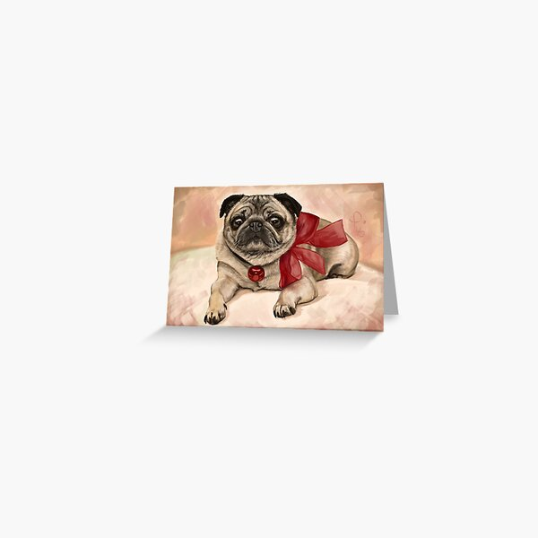 Christmas pug with a red bow  Greeting Card