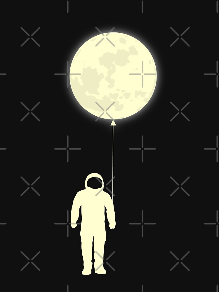 astronaut with moon balloon outer space graphic tee t shirt unisex