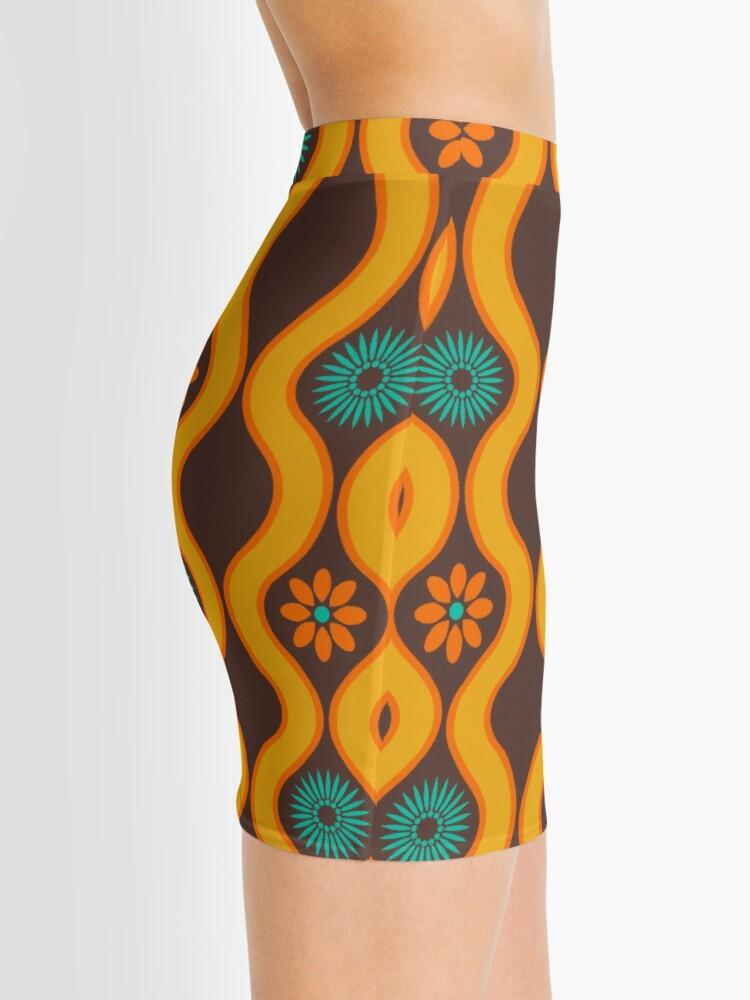 Alternate view of 1970's Retro Vintage Seventies Floral Flowers Pattern  Mini Skirt