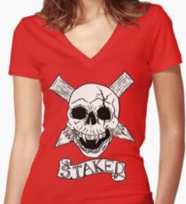 Vampire Skull Women's Fitted V-Neck T-Shirt