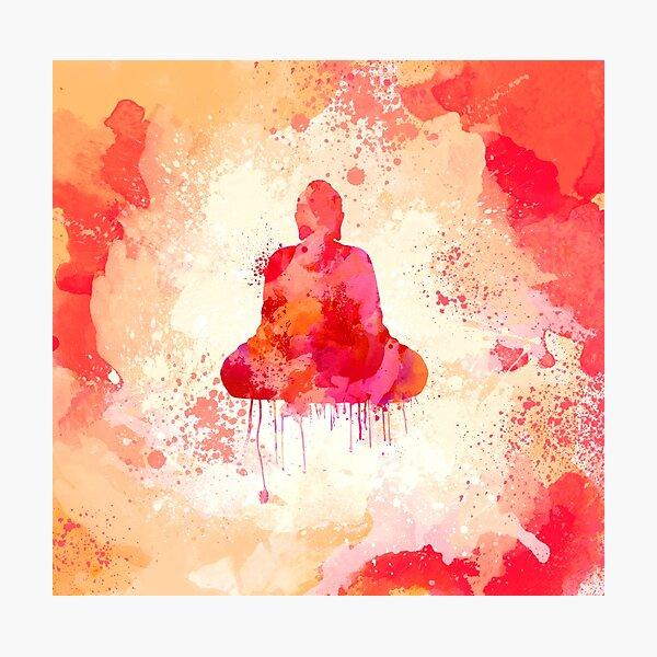 Red Buddha Watercolor art Photographic Print