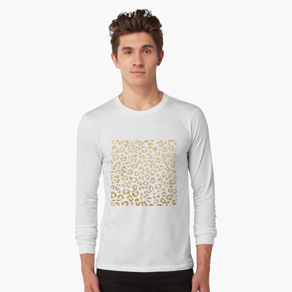 Modern leopard pattern luxury faux gold glitter Long Sleeve T-Shirt