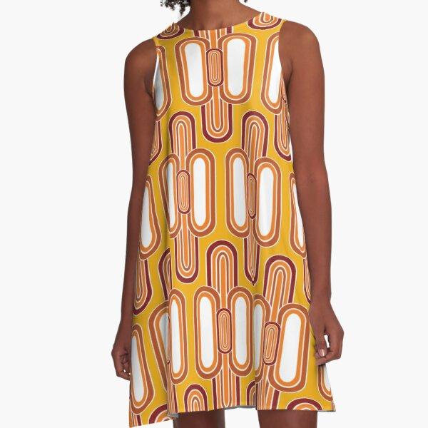1970's Retro Vintage Seventies Style Pattern  A-Line Dress