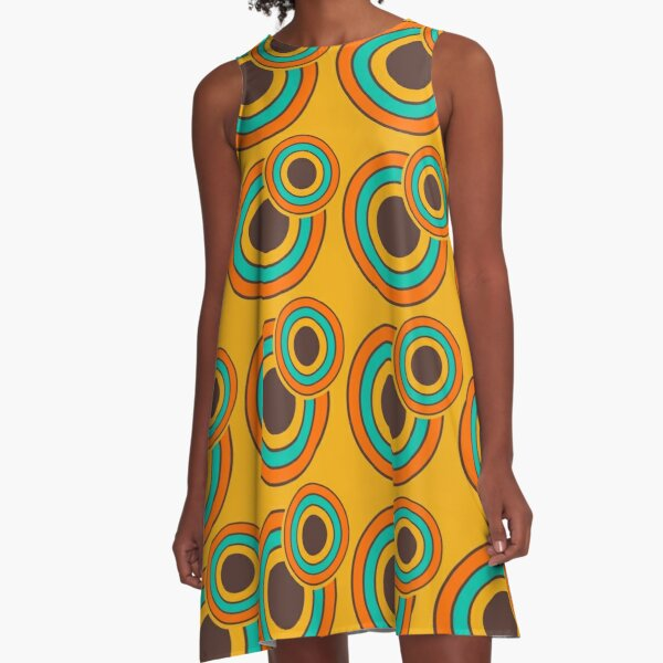 1970's Retro Circles / Vintage 70s Seventies Pattern A-Line Dress