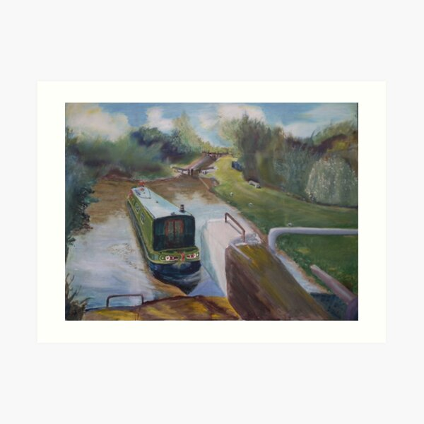 Narrowboat Approaching Lock Art Print