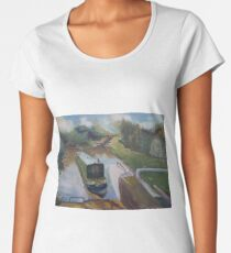 Narrowboat Approaching Lock Premium Scoop T-Shirt