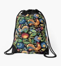 Folk Roosters Drawstring Bag