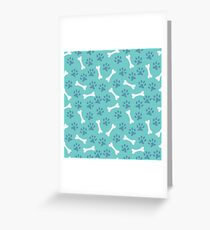 Animal seamless vector pattern of paw footprint and bone Greeting Card
