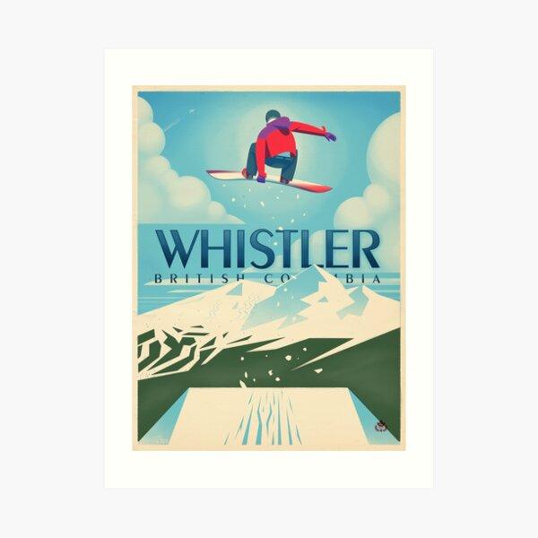 """Snowboard Booter"" Affiche de voyage de Whistler, BC Impression artistique"