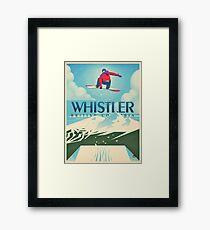 """""""Snowboard Booter"""" Whistler, BC Travel Poster Framed Print"""