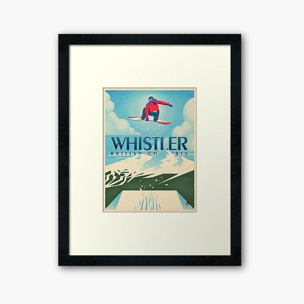 """""""Snowboard Booter"""" Whistler, BC Travel Poster Framed Art Print"""