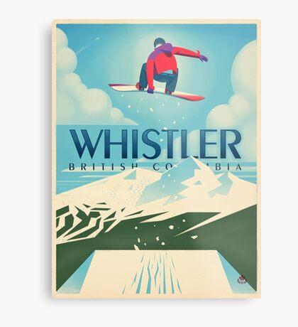 """Snowboard Booter"" Whistler, BC Travel Poster Metal Print"