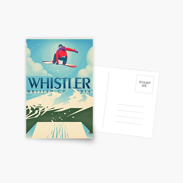 """""""Snowboard Booter"""" Whistler, BC Travel Poster Postcard"""