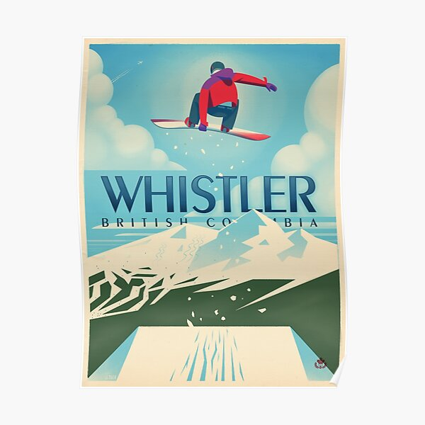 """Cartel """"Snowboard Booter"""" Whistler, BC Travel Póster"""