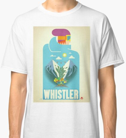 """Blue Bird"" Whistler, BC Travel Poster Classic T-Shirt"