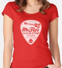 McFly's Repairs - White Women's Fitted Scoop T-Shirt