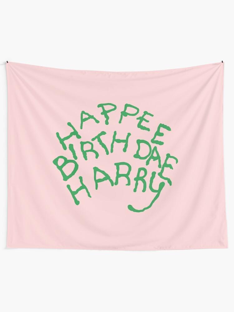 Alternate view of Happee Birthdae Harry Tapestry