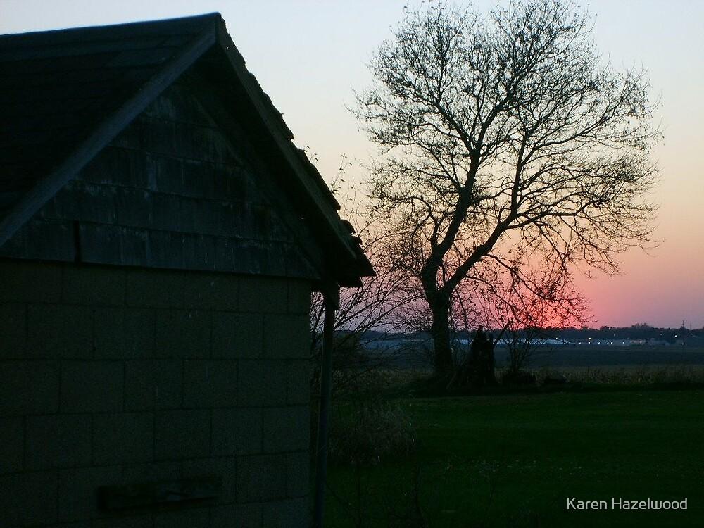 Illinois Sunset from the farm by Karen Hazelwood