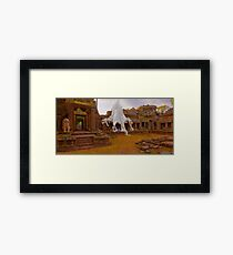 Spung Tree Roots on Preah Khan Temple, Cambodia (faux painting) Framed Print