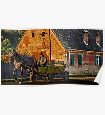 Man in Horse Drawn Cart, Small Village in Transylvania, Romania Poster