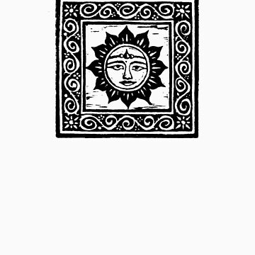 Sun God Linocut by yvettebell