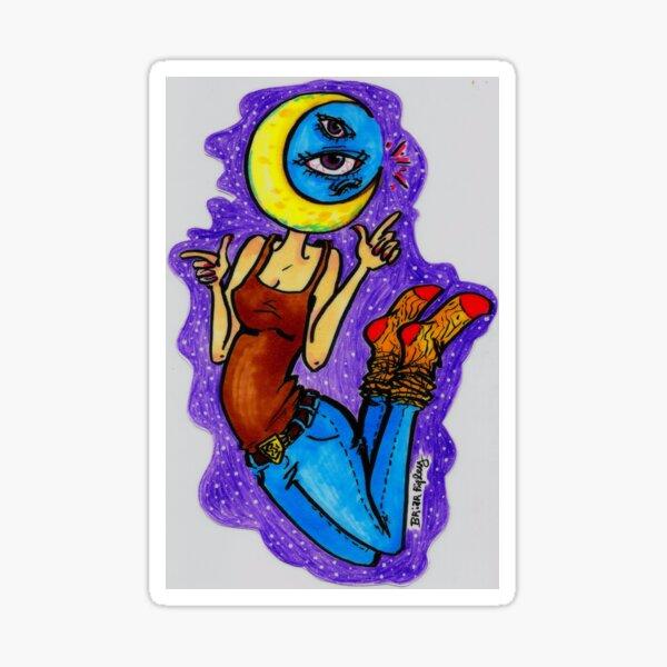 moon-headed person Sticker