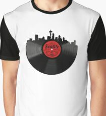 Seattle Washington Vinyl Record Vintage Skyline Design Graphic T-Shirt