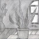 FERN IN SUNLIGHT AND GLASS FLOOR VASE  by NEIL STUART COFFEY
