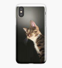 Tabby kitten with dark background iPhone Case/Skin