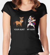 Your Aunt My Aunt Funny Cute dabbing Unicorn T-shirt  Women's Fitted Scoop T-Shirt
