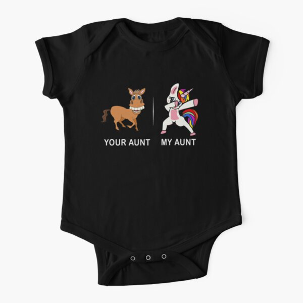 Your Aunt My Aunt Funny Cute dabbing Unicorn T-shirt  Short Sleeve Baby One-Piece