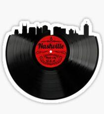 Nashville Tennessee Vinyl Record Vintage Skyline Design Sticker