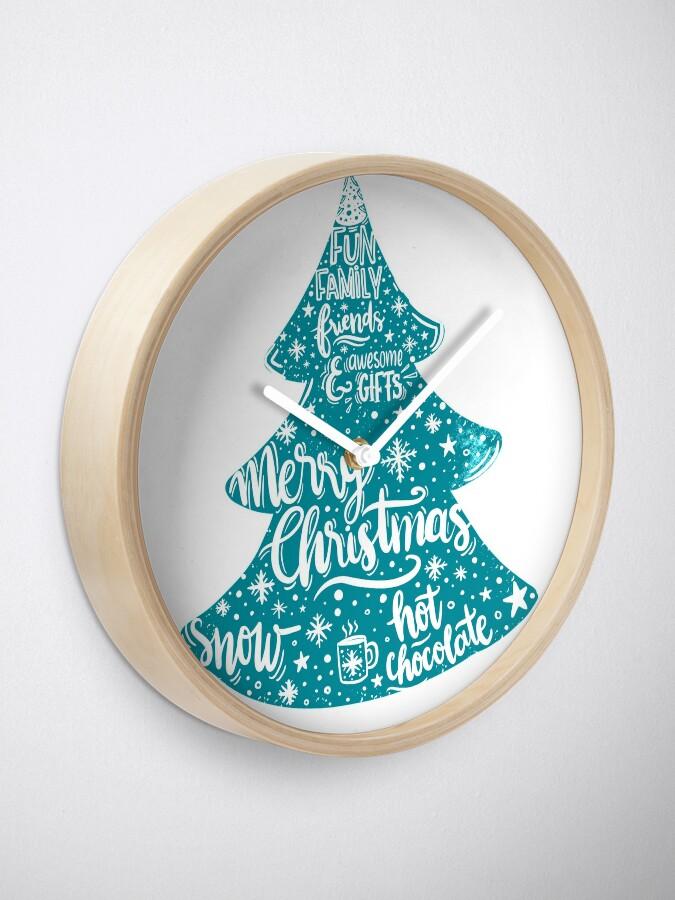 Alternate view of Merry Christmas! Holidays pattern design Clock