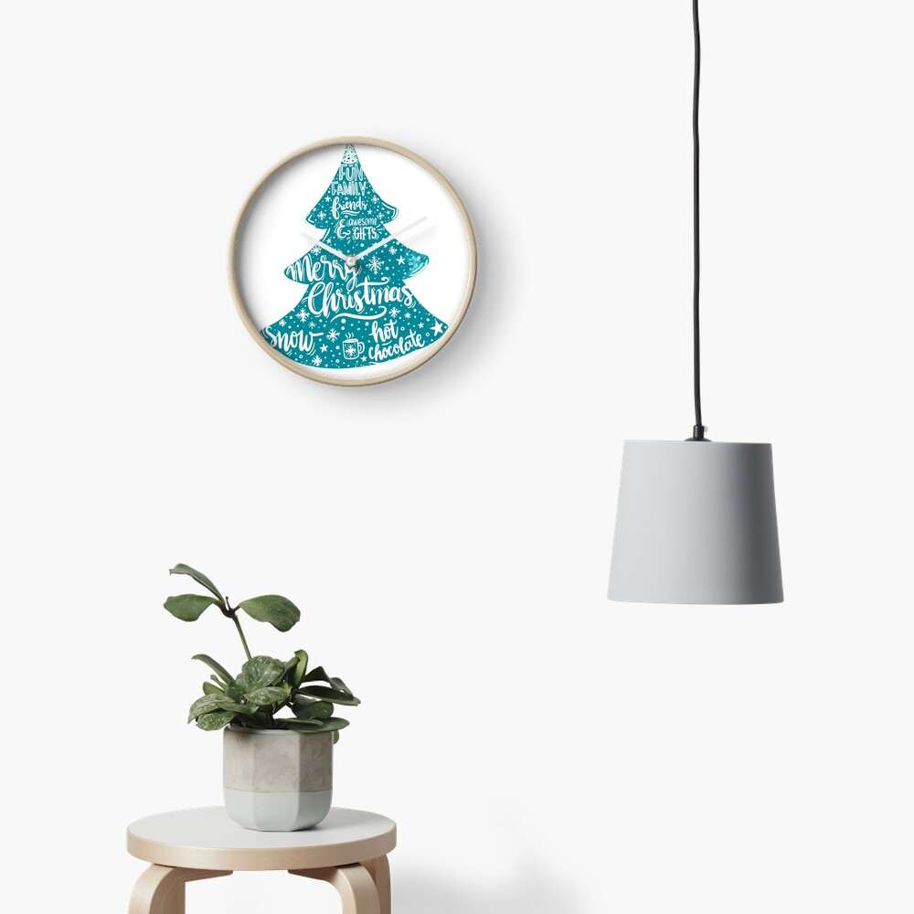Merry Christmas! Holidays pattern design Clock