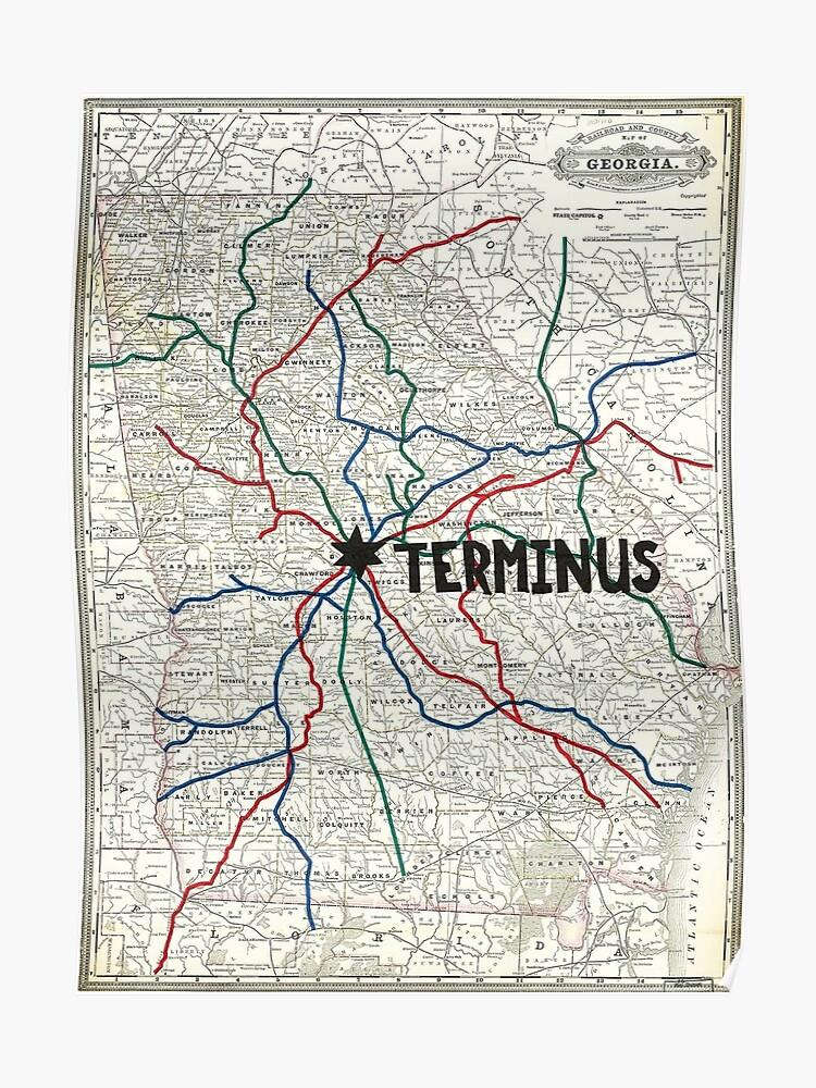 Mapa The Walking Dead.The Walking Dead Mapa De Terminus Poster