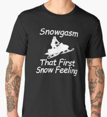 Snowgasm That First Snow Feeling Funny Snowmobile  Men's Premium T-Shirt