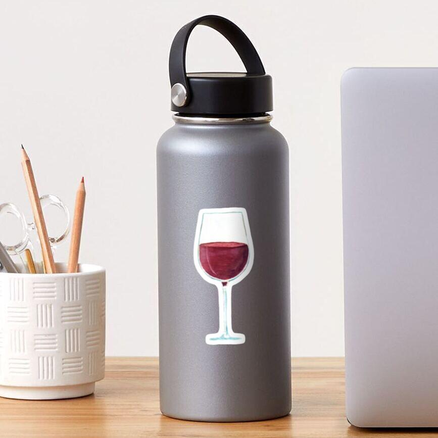 Glass with red wine Sticker