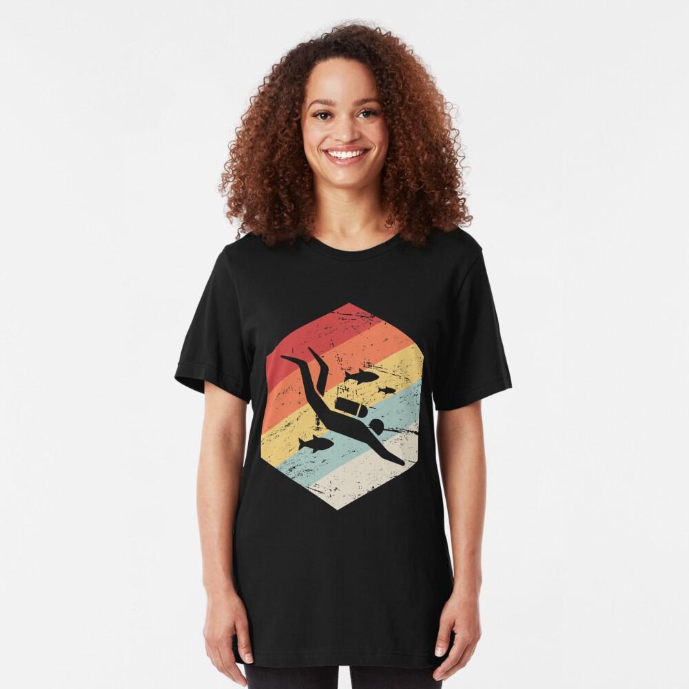 Retro 70er Jahre Scuba Diver Icon Slim Fit T-Shirt