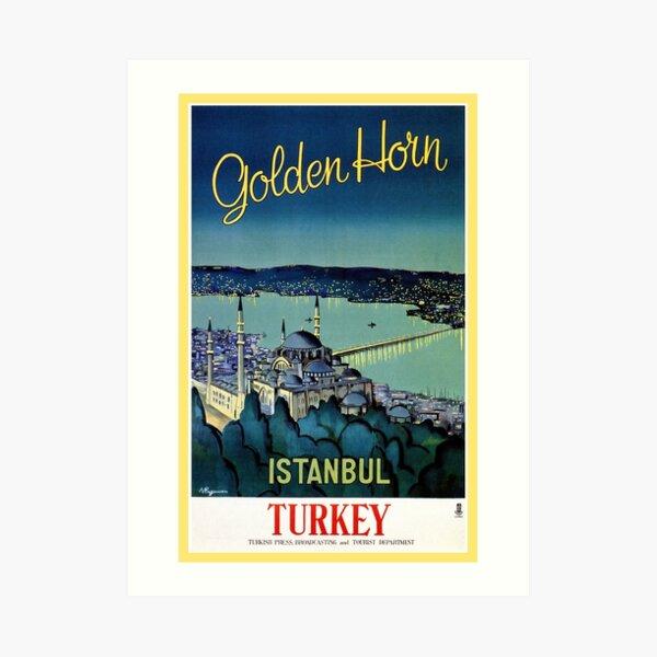 Vintage Golden Horn Istanbul Turkey travel  Art Print