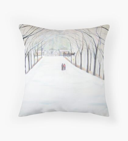 The  Silent Snowfall  Walk  /  Central  Park  NYC      Throw Pillow